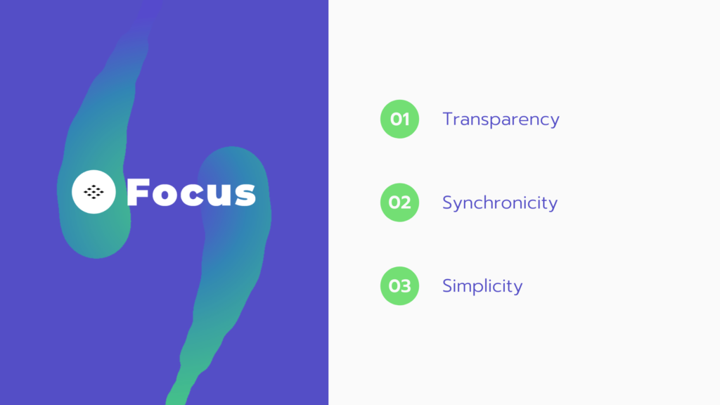 Why you need focus. 1. Transparency 2. Synchronicity. 3. Simplicity